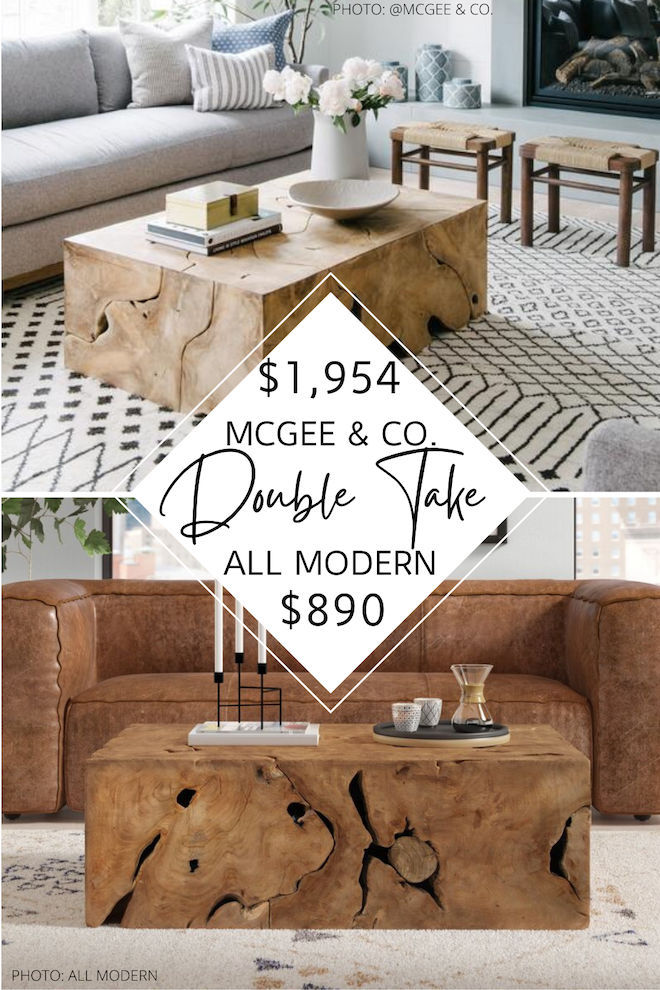 Looking for furniture or brands that looks like McGee & Co. (also known as Style McGee?). I got you! This tory coffee table dupe is a teak block coffee table that will save you over $1,000. If you love Mcgee and Co., you've got to see this living room staple! McGee and Co. dupes are a great way to decorate on a budget. #inspo #design #lookalike #copycat