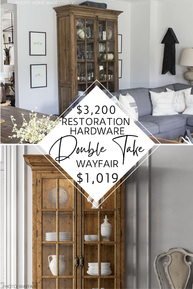 This wood cabinet is a Restoration Hardware French Casement Double Door Cabinet dupe! I love the glass windows, farmhouse style, windowpane-style glass doors, and vintage hardware. This copycat will save you $2,000 and will give you the Restoration Hardware living room or dining room of your dreams. #inspo #decor #distressed #lookalike