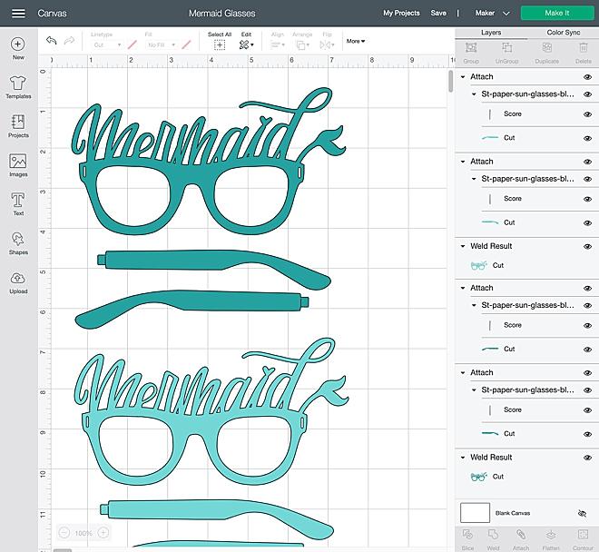Mermaid paper glasses with Cricut