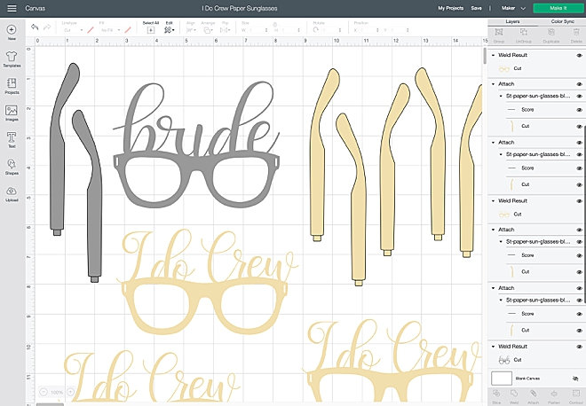 Wedding paper glasses with Cricut