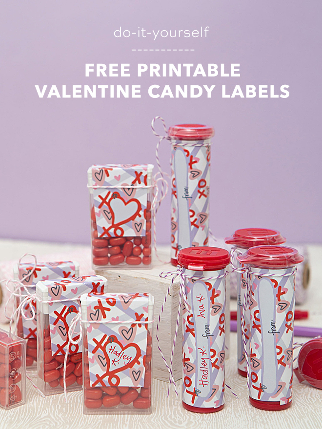 Free printable Valentine candy labels with to: and from: