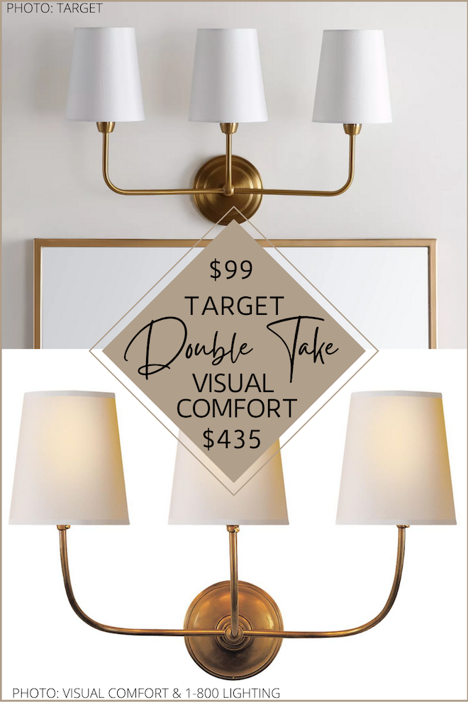 Brass three light (and also two light and one light) wall sconces are everywhere right now, so I found a Visual comfort dupe that will save you hundreds. My look-alike has the same brass base with white shades but is over $300 less! If you're decorating on a budget, doing a home Reno, or just doing some updating to your home, my home decor dupes and copycats will save you so much money. #inspo #design #lighting #lookforless