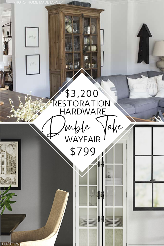 This is a Restoration Hardware french casement double door cabinet dupe and I'm here for it! Just look how similar they look! If you're looking for furniture that looks like Restoration Hardware, you've come to the right place. This cabinet would look great in a dining room, living room, or home office. Bonus: you can save THOUSANDS on it. #inspo #vintage #farmhouse #traditional #decor