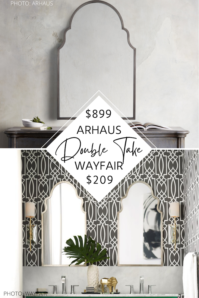 Looking for an Arhaus Mirror dupe? I have Arhaus copycat mirrors that look like Arhaus, but cost WAY less. This arch top mirror has Moroccan mirror vibes and my look-alike will save you $700! If you are decorating on a budget or are doing a home reno, you need my looks for less in your life. #bathroom #inspo #design #lookforless