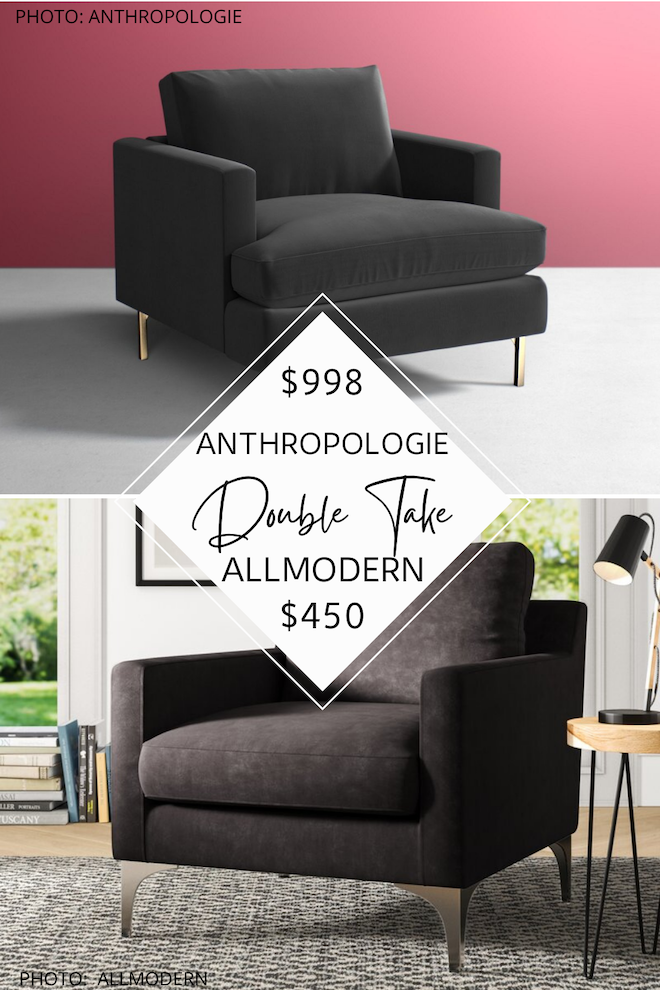 Are you looking for furniture that looks like Anthropologie but is cheaper? If you want to save some major money, check out my Anthropologie dupes! This Anthropologie Bowen chair dupe is half the price and not only is it a velvet side chair, it even has the gold metal legs like the Anthro version. #decor #inspo #design #lookforless