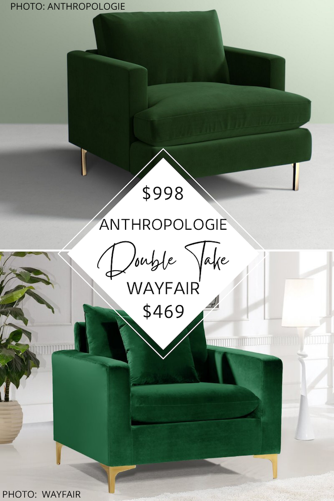 Obsessed with the Emerald green velvet accent chair. It's an Anthropologie dupe and is a great Anthropologie's Bowen chair copycat. If you love furniture that looks like Anthropologie, you need this accent chair in your living room, guest bedroom, nursery, bedroom, or home office. #inspo #decor #home #house