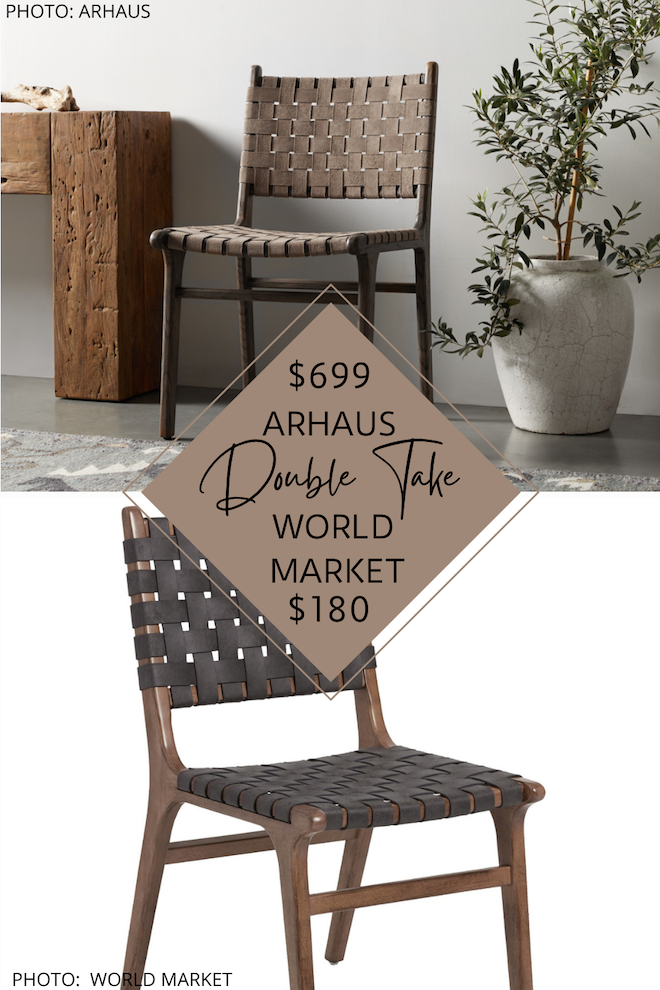 I finally have an Arhaus Henry leather strap dining chair dupe! If you love the look of mid-century modern furniture but are also decorating on a budget, this is going to blow your mind. These dining chairs look like Arhaus, but are actually $500 less EACH. If you love copycat decor and designer furniture, you've got to see my dupes. #knockoff #inspo #goals #design