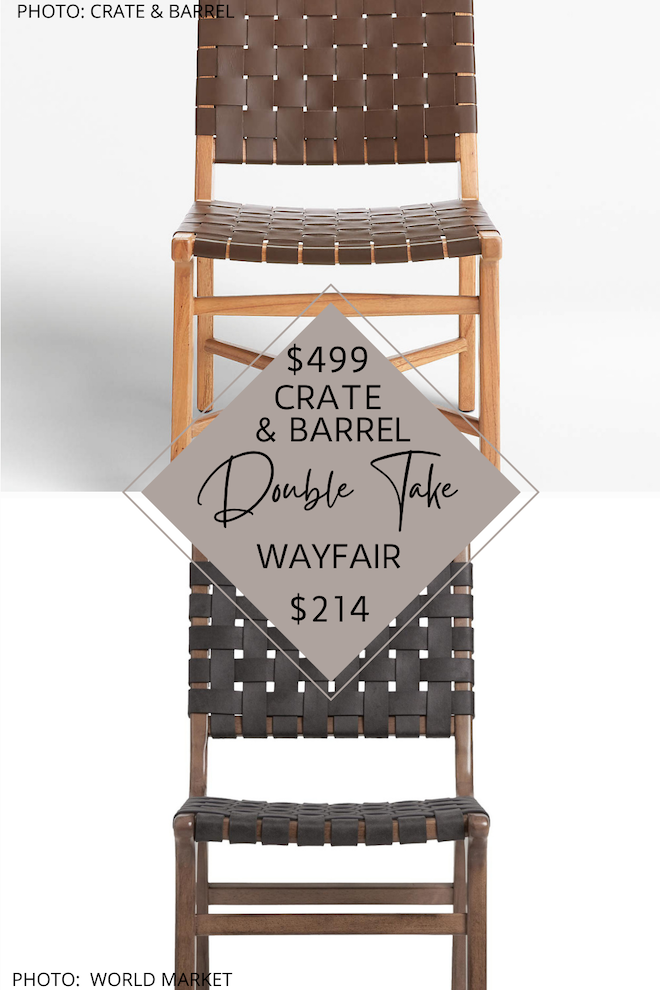 Looking for a Crate and Barrel Taj Leather Strap Dining Chair Dupe? Or Maybe an Arhaus Henry Dining Chair dupe? If you are decorating on a budget and want the look for less of these dining chairs, you've got to see my copycats. These mid-century chairs are affordable AND stylish. #inspo #decor #design