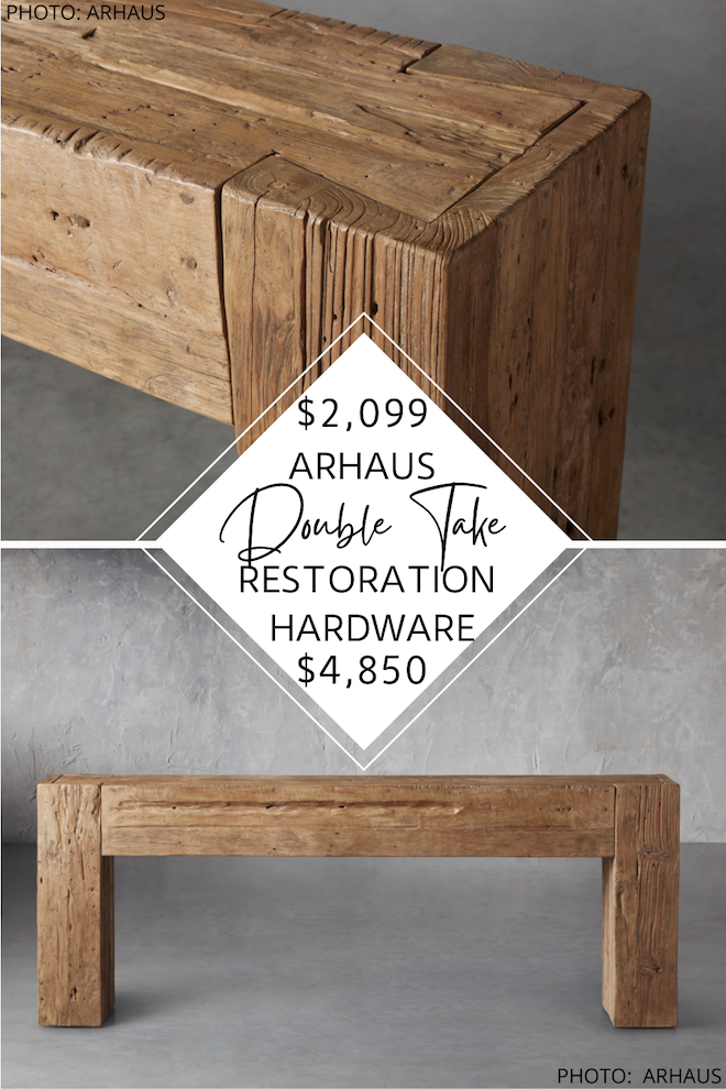 Looking for a Restoration Hardware Reclaimed English Beam Console Table dupe? It DOES exist!  This Arhaus dupe will save you over $3,000 and will help you get the Restoration Hardware look for less. If you love the look of salvaged wood but also like decorating on a budget, this copycat is for you. #knockoff #entryway #side