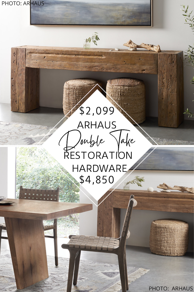 Love Restoration Hardware style and decor? Always dreamed of having a Restoration Hardware entryway? O maybe a Restoration Hardware living room? I can help you decorate on a budget and get that Restoration Hardware look for less. This Reclaimed English Beam Console Table dupe gives you the reclaimed wood look for $3,000 less. #inspo #design #knockoff #goals