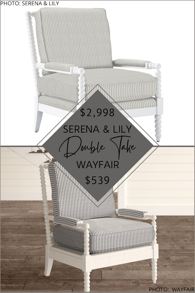 If you're looking for striped side chairs, you're going to have to take a look at my Serena and Lily Beckett spindle armchair dupe. Serena and Lily furniture is coastal and transitional, but can be so expensive! My knockoffs and looks for less will help you decorate on a budget! These side chairs are perfect to style in a sest in your living room. #inspo #decor #goals