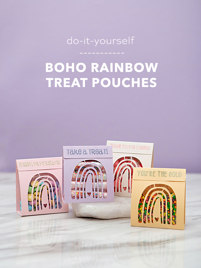 Use your Cricut to cut and make these adorable boho rainbow treat pouches!