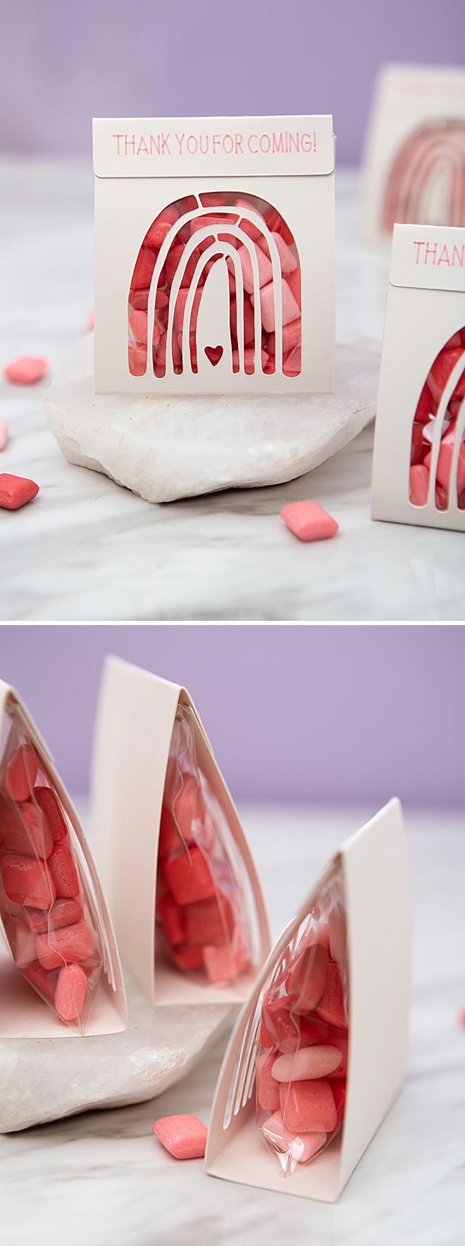 Fill these darling DIY treat pouches with your favorite rainbow candies!