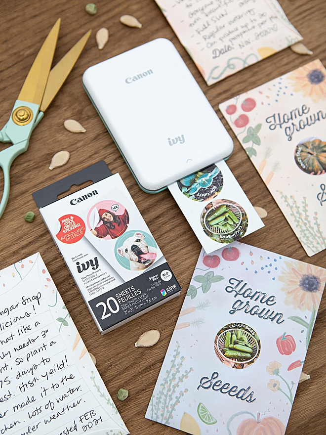 We used our Canon IVY Mini photo printer to make these seed packets, so cute!