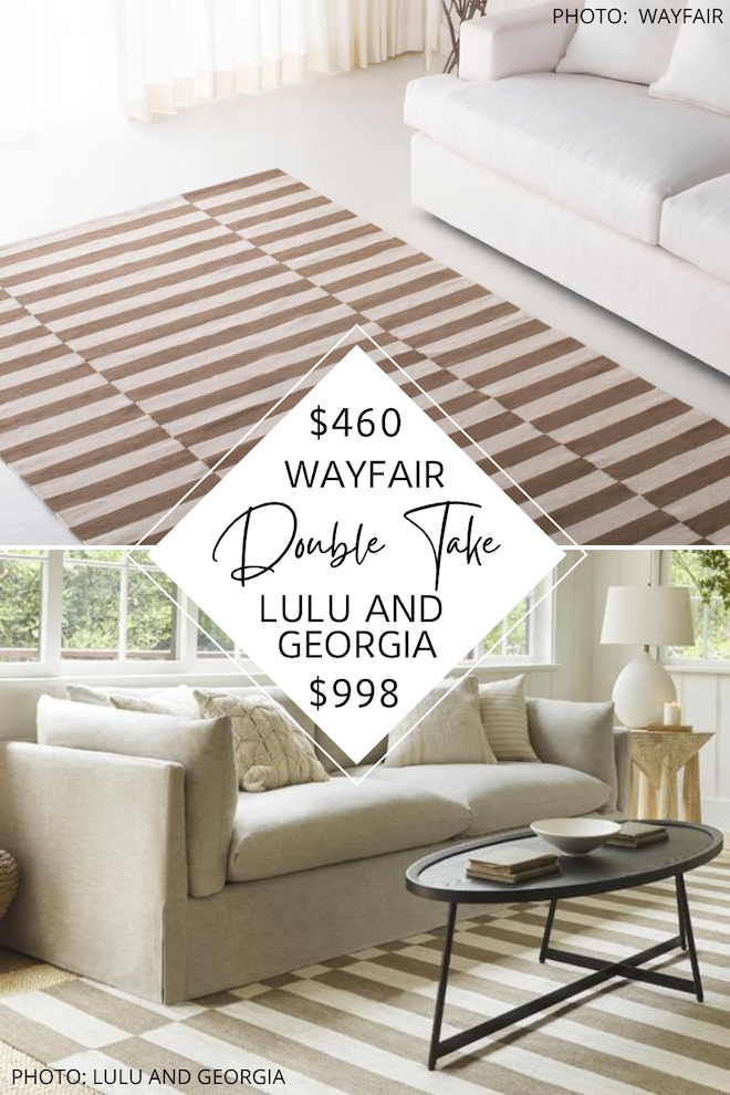 I've got a Lulu and Georgia Bungalow Rug by Jenni Kayne dupe! If you love striped rugs and also want the look for less, this copycat rug is for you! I found a rug that gives you the same coastal design and flatweave style, but will save you over $500. If you love coastal living rooms and modern transitional decor, you've got to see this. #inspo #knockoff #goals #neutral