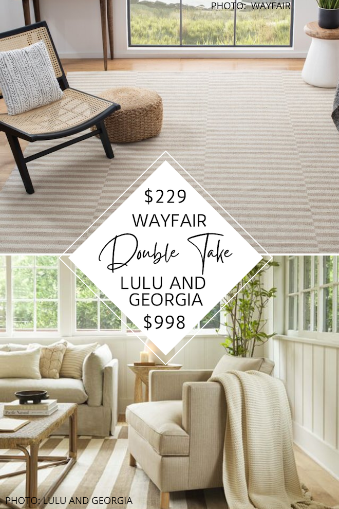 Always dreamed of having a Lulu and Georgia living room? If you love coastal style and natural decor, this decor dupe is for you! I found a Lulu and Georgia Bungalow rug dupe that will save you over $500. You'll get the look for less and decorate on a budget. This would be a great living room rug, dining room rug, or even a bedroom rug. #inspo #decor #knockoff