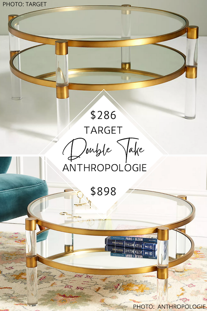 WOW. Can we just talk about this Anthropologie Oscarine lucite coffee table dupe? I love the round acrylic shape, gold hardware and accents, and open shelf. I've always dreamed of having an Anthropologie living room, and this is how I can on a budget. #dupes #copycat #knockoff #inspo