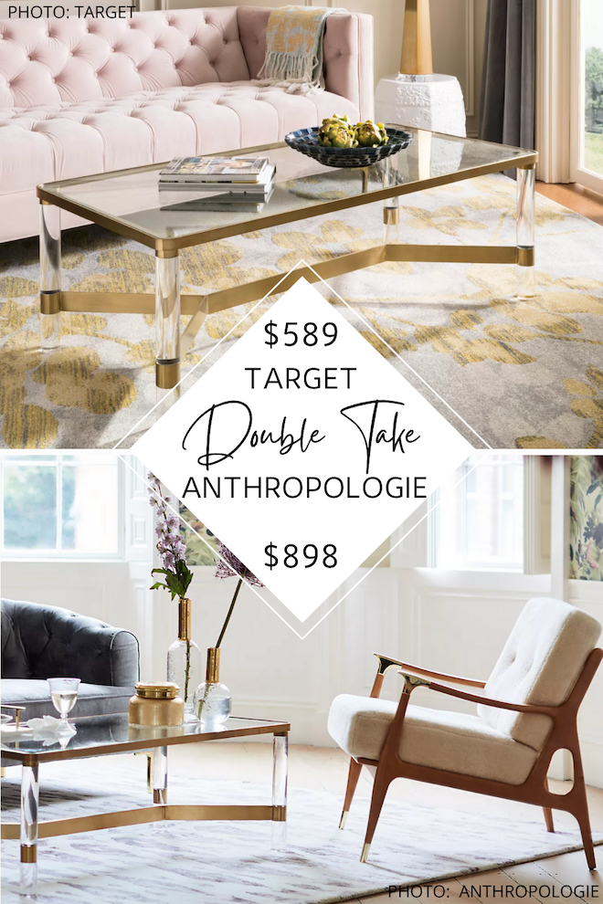 Love Anthropologie furniture but want the look for less? I have an Anthropologie coffee table dupe that will blow your mind. The Oscarine lucite table is made of acrylic and has gold accents…but so is my copycat! I can help you get the look for less and still have the glam, feminine living room decor of your dreams. #inspo #design #goals #inspiration