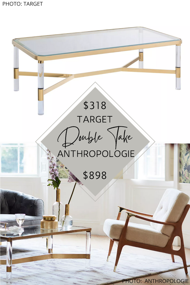 Looking for an Anthropologie Oscarine Lucite Rectangular Coffee Table dupe? I have SIX! If you love Anthropologie furniture but are decorating on a budget, you need these copycats in your life. If you've always dreamed of having an Anthropologie living room, Anthropologie furniture dupes are how you get the look for less. #inspo #decor #lucite #acrylic