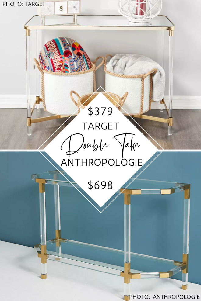 Always dreamed of having an Anthropologie living room? Or maybe an Anthropologie entryway? If you love Anthropologie furniture, you need to see my look for less. I found an Anthropologie Oscarine acrylic and gold table dupe that will save you hundreds. #inspo #decor #knockoff #design