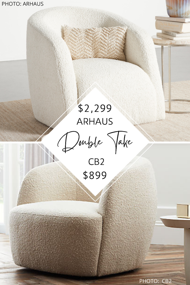 Do you love Arhaus furniture? Do you dream of having an Arhaus living room? This sherpa / faux shearling sherpa swivel side chair is an Arhaus Merrill swivel chair dupe that will save you over $1,200! This living room accent chair is perfect for a modern traditional or Amber Interiors - inspired space. #inspo #design #decor #knockoff