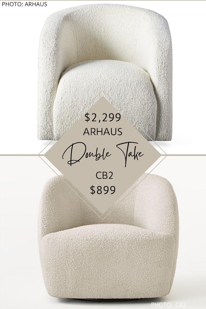 That price difference, tho. This faux shearling swivel side chair would look amazing in pairs in a living room and is actually an Arhaus dupe! This sherpa accent chair reminds me of the Amber Interiors Tera Armchair but will cost you way, way less. #inspo #design #knockoff #lookalike #decor