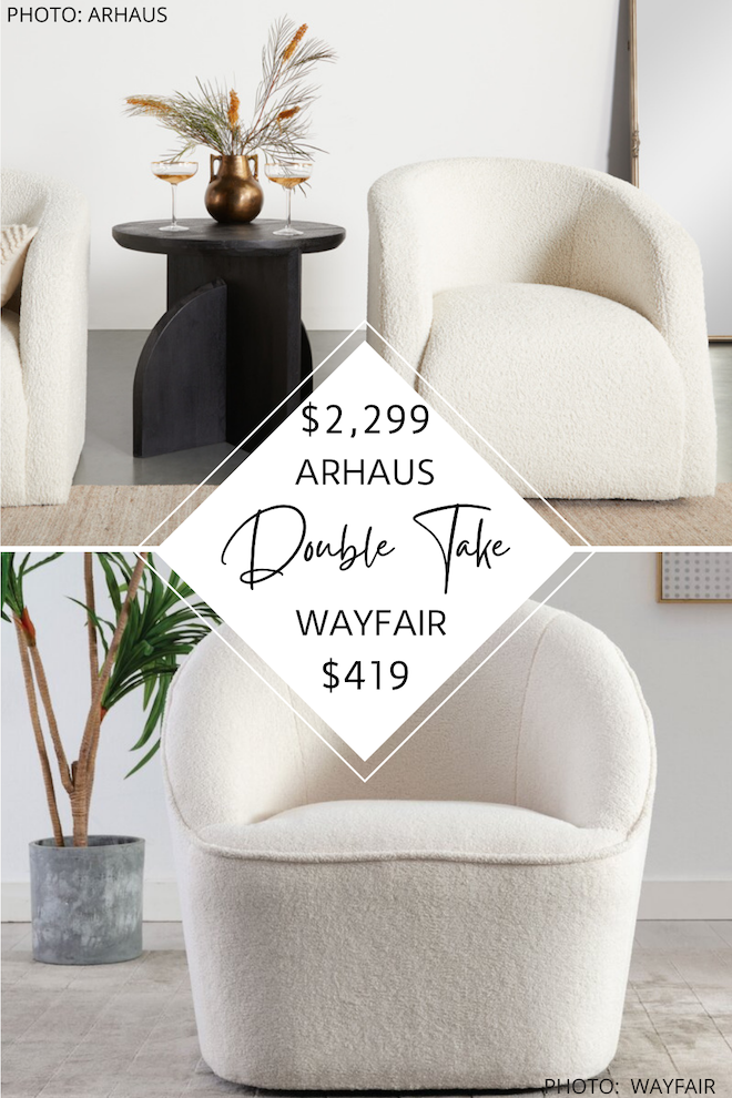 Looking for some Arhaus living room inspiration? You will not believe this Arhaus dupe. This CB2 swivel side chair will give you the Arhaus look for less and save you so much money! It's very Amber Interiors, modern traditional, or transitional. #inspo #decor #copycat #knockoff