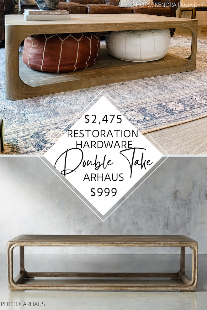 Looking for a Restoration Hardware Martens Coffee table dupe? Or maybe furniture that looks like Restoration Hardware? I have that! I've got a bunch of round and rectangle coffee tables that look like the Martens table but cost WAY less. If you've always dreamed of having a Restoration Hardware living room, you need my copycats in your life. #inspo #design #knockoff #decor