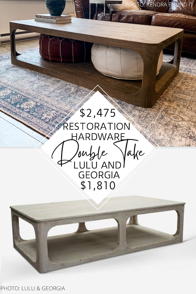 Looking for furniture that looks like Restoration Hardware? Or Restoration Hardware furniture knockoffs? If you're decorating on a budget, you need my Restoration Hardware Martens coffee table dupe in your life. This rectangle shelf coffee table will give you the look for over $1,000 less. #inspo #decor #design #copycat