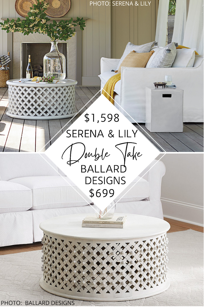 Always dreamed of having a Serena and Lily living room? But maybe you're decorating on a budget and want the look for less? I have the answer for you! My Serena and Lily Bamileke Coffee Table Dupe will save you almost $1,000 and get you the boho, coastal living room of your dreams. #inspo #decor #design #goals
