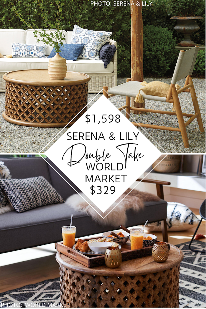 Looking for an affordable lattice coffee table? Or maybe a carved wood coffee table? This Serena and Lily Bamileke coffee table dupe will give you the most beautiful coastal living room. My looks for less can help you save money on home decor and also decorate on a budget. #inspo #design #lookforless #knockoff
