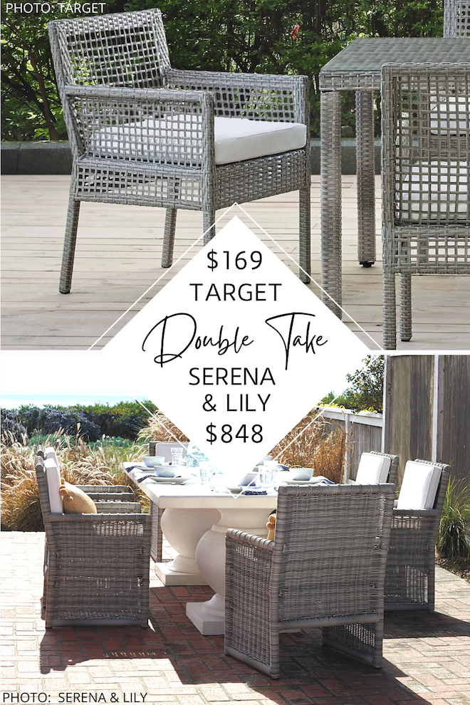 Boy do I have some Serena and Lily dupes for you! Just in time for summer, I have a Serena and Lily Pacifica patio set dupe that will save you SO MUCH MONEY. If you love Serena and Lily outdoor furniture - we're talking grey wicker, white cushions, and a coastal style - you need my copycats in your backyard.  I have dining chairs, a sofa, a loveseat, and even accent and side chairs! #inspo #decor #beach #summer