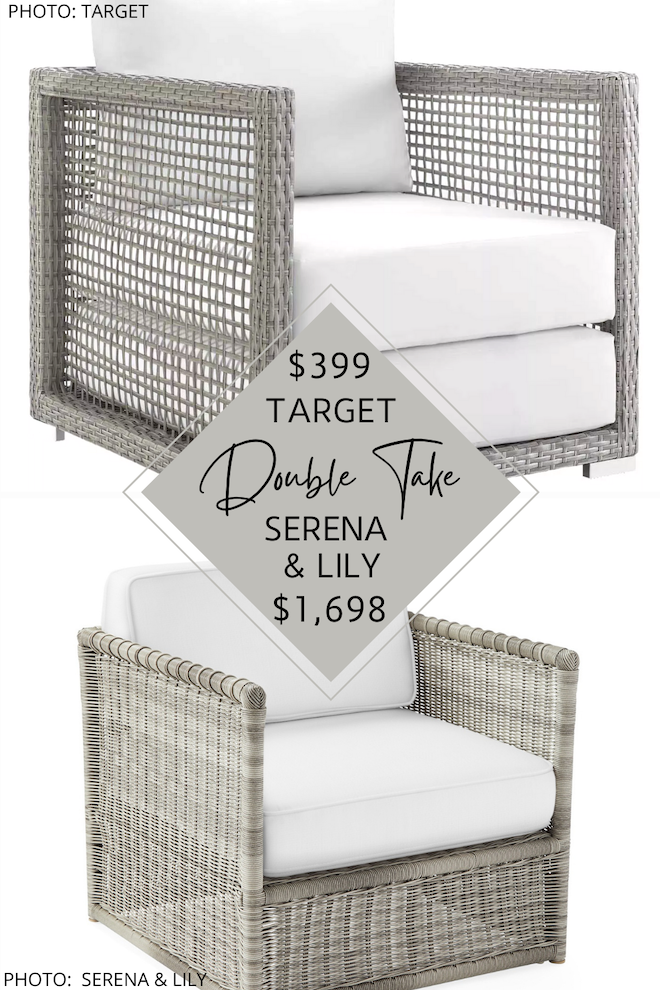 Can we just talk about this Serena and Lily Pacifica wicker side chair dupe?! It has the same coastal style, grey wicker, white cushions, and beachy vibes, but costs $1,200 less. If you've always dreamed of having a backyard or patio full of Serena and Lily furniture, you need this copycat in your life. Decorating on a budget is totally possible! #knockoff #inspo #design