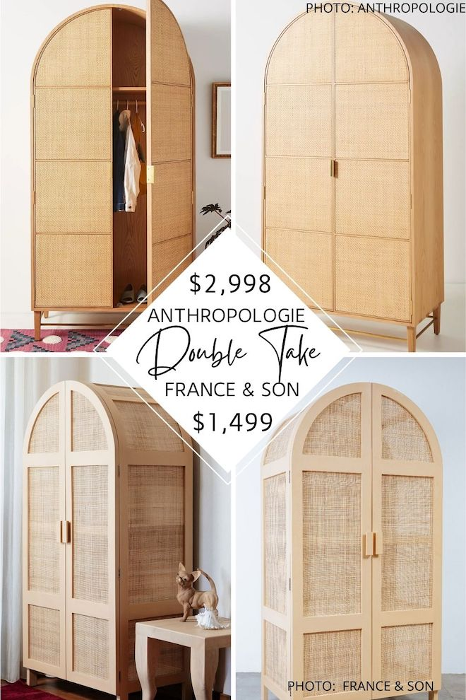 Looking for an Anthropologie Wallace Armoire dupe? I've found an Anthropologie copycat that is HALF the price of the Anthropologie Wallace Cane and Oak Armoire but will gave you the same look for less. Whether you're using it for storage or looks, you've got to see this Anthropologie look-alike. #knockoff #house #decor #dupes