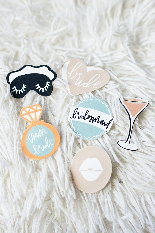 Bachelorette party-ready with these super cute DIY lapel pins made with printable shrink paper!
