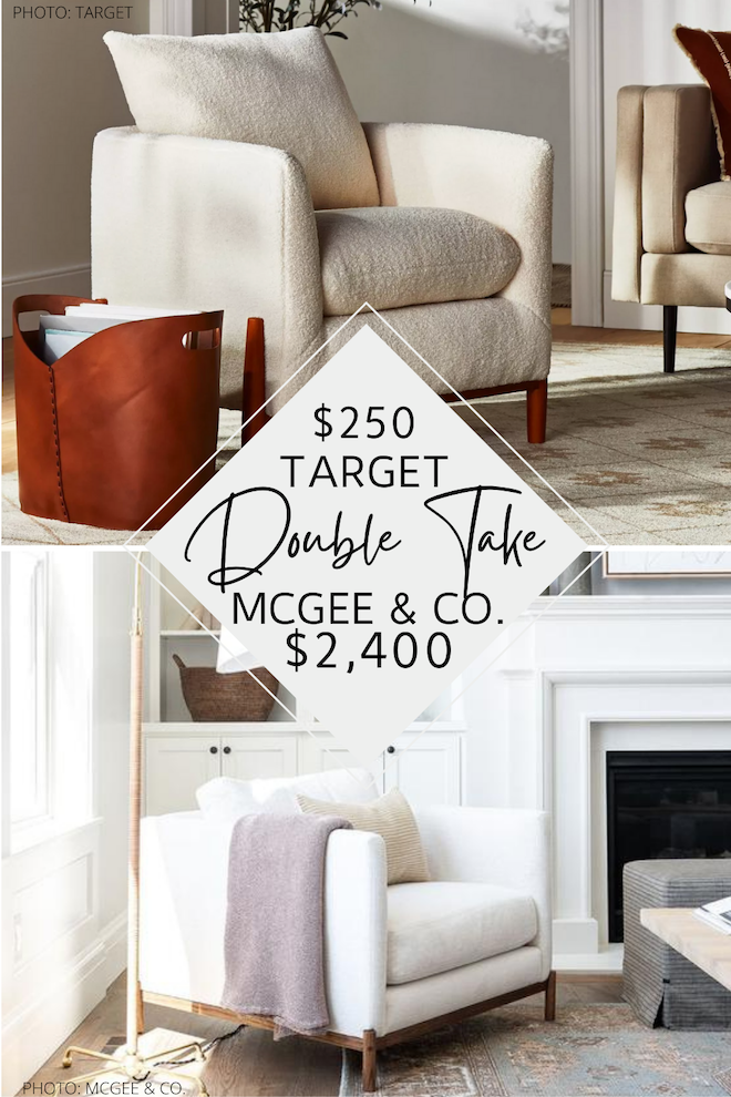 Have you always dreamed of having a McGee & Co. living room or great room? If so, you need to see my McGee & Co. Morrison Wood Base Chair dupe. This McGee and Co. copycat will save you thousands and you CAN GET IT AT TARGET! I love the sherpa material, wood base, and modern traditional shape. #inspo #design #decor #lookforless
