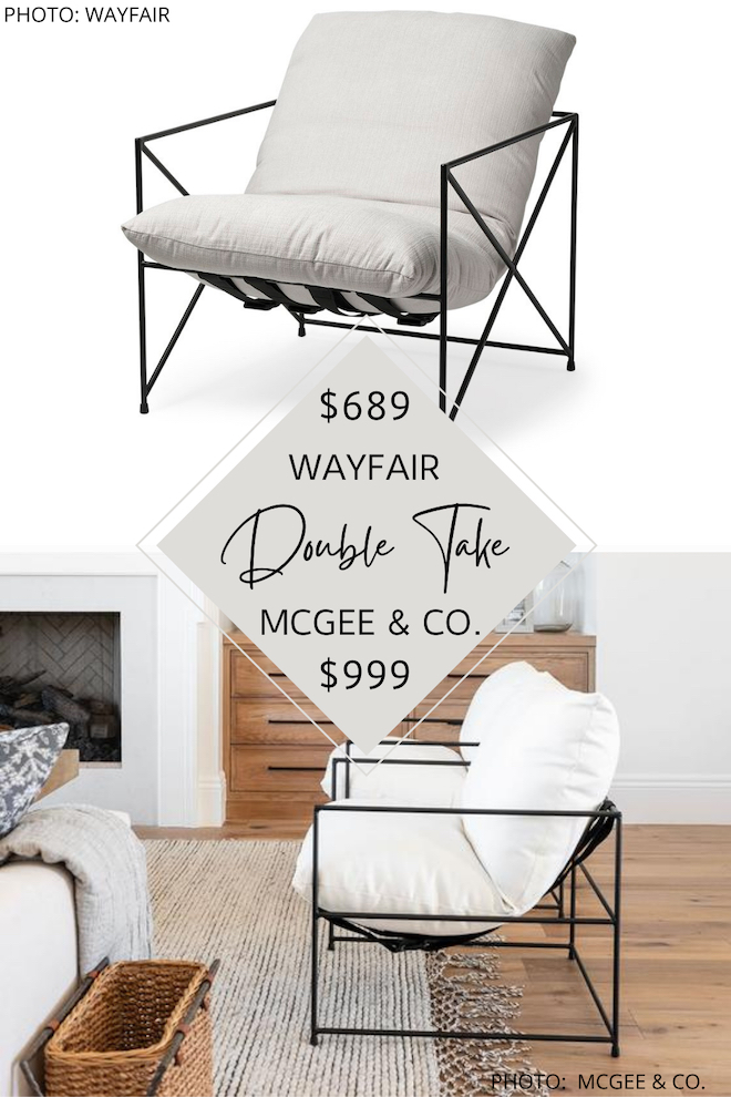 Always dreamed of having a McGee & Co living room but want the look for less? I found a McGee and Co. Yates chair dupe that will give you the metal and linen sling chair of your dreams without the price tag. For more McGee and Co look-alikes, check out my other copycats. #inspo #decor #design #side
