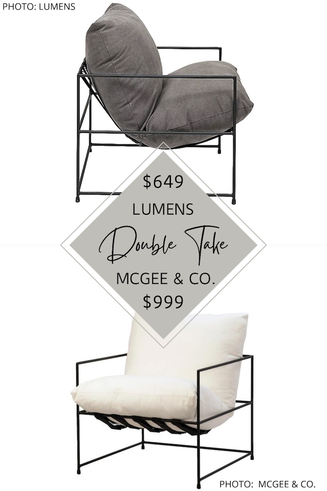 I love this McGee and Co Yates side chair dupe! If you love sling chairs, modern traditional, and transitional design, you need this copycat in your life.  This Studio Mcgee look for less accent chair would look so perfect in a living room or bedroom and costs less. #inspo #decor #lookalike