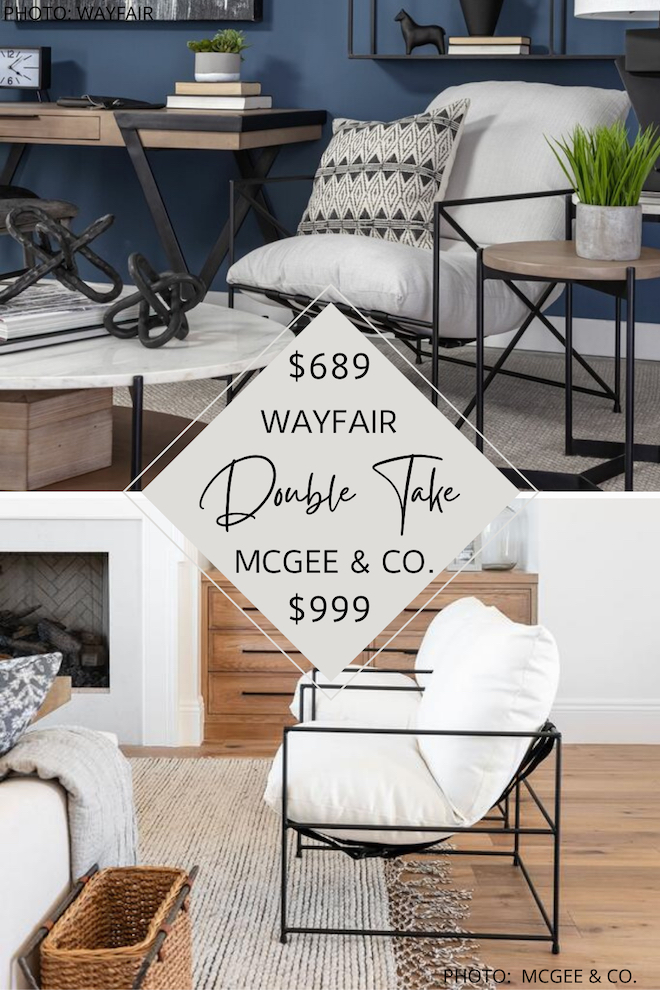 Looking for furniture that looks like McGee and Co.? Allow me to introduce you to my Studio McGee Yates chair dupe!  This linen and metal sling side chair is a killer copycat of McGee and Co. furniture but costs less! If you're decorating on a budget and love modern traditional, you've got to see this copycat. #inspo #decor #design