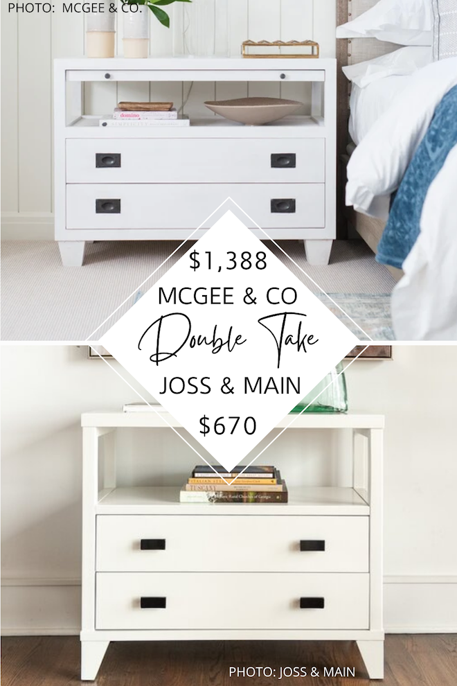 Love McGee & Co. and Studio McGee home decor? If you're decorating on a budget, you need dupes and copycats in your life. I have a McGee and Co. Ace Nightstand dupe that will save you HALF PRICE. If you're looking for bedroom inspiration, I've got it on a budget. #design #decor #lookforless #modern #traditional