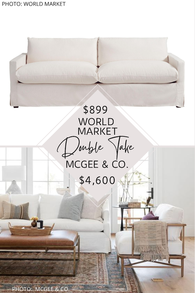 Are you looking for a mcgee and co everleigh sofa dupe for your living room? I have a bunch! if you love the look of transitional sofas, white sofas, cream loves seats, recessed arm sofas, or linen couches, you're going to need my copycats in your life. my studio mcgee dupes are a great way to decorate on a budget. #inspo #decor #livingroom #goals