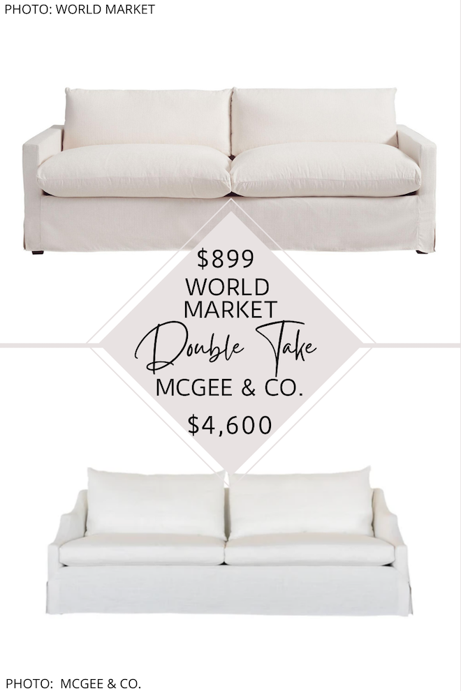 i finally found a studio mcgee everleigh sofa dupe! this linen sofa has been on my look for less list for a long time, and i finally found it.  I love the white performance fabric, recessed arm sofa style, and feather filled cushions - oh, and it also has a slipcover! This modern traditional couch would be perfect for a transitional living room. #inspo #goals #design