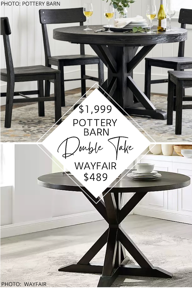 Can we just talk about this Pottery Barn dupe? If you love looks for less, copycats, knockoffs, and decorating on a budget, this budget tip is for you! This round farmhouse dining table is a great dupe for the Pottery Barn Benchwright Round Dining Table. Furniture that looks like Pottery Barn = money savings! #inspo #decor #design #goals