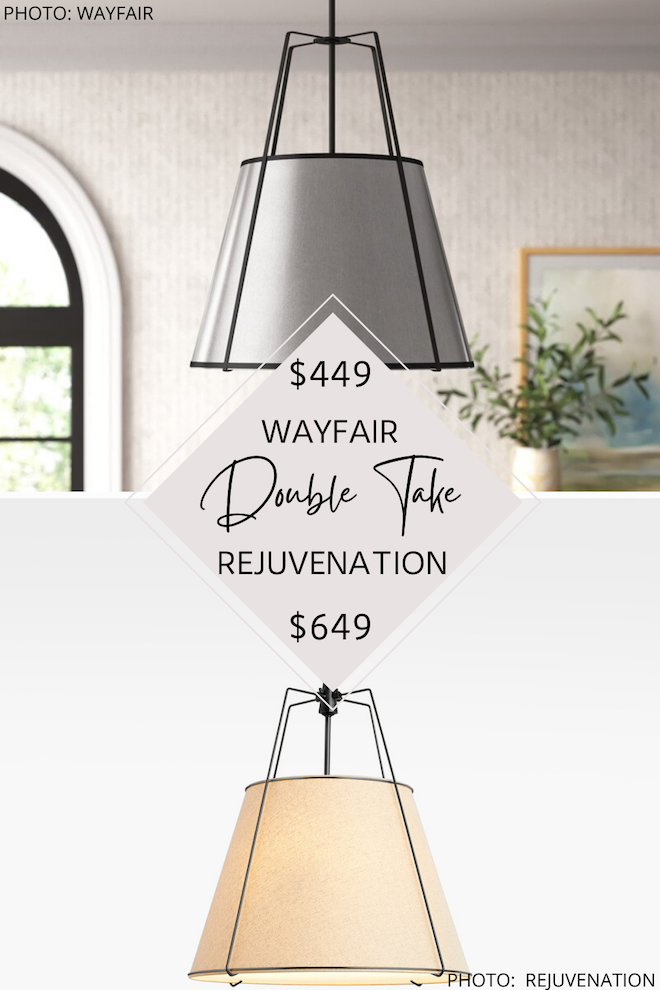 This Rejuvenation Drum Pendant dupe will blow your mind! You can get the Rejuvenation look for less ($200 less per pendant, actually) with these modern traditional lights. If you'e decorating on a budget, you need my home decor copycats in your life! #inspo #design #lighting #kitchen