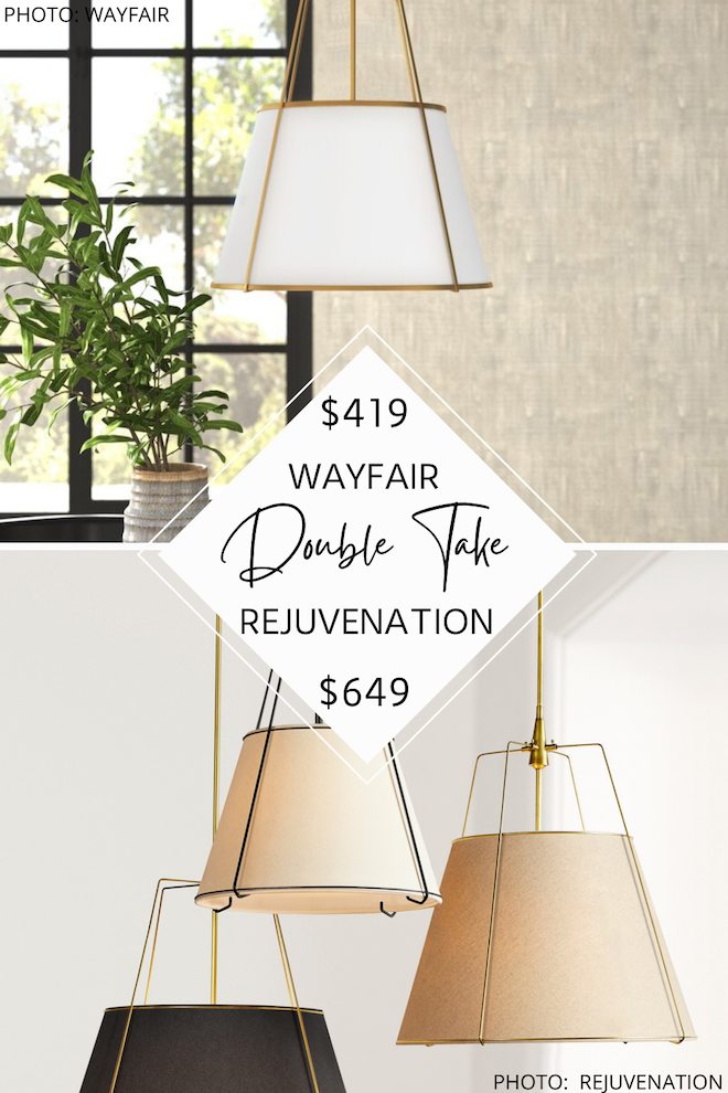 Looking for a Rejuvenation conical drum pendant dupe? Or maybe you're looking for some pendants over a kitchen island inspiration? Either way, I've got both! These Rejuvenation copycats will save you $200 PER PENDANT and will give you modern traditional decor for less. #inspo #dupe #knockoff #lookalike 1000 x 1500 Looking for a Rejuvenation conical drum pendant dupe? Or maybe you're looking for some pendants over a kitchen island inspiration? Either way, I've got both! These Rejuvenation copycats will save you $200 PER PENDANT and will give you modern traditional decor for less. #inspo #dupe #knockoff #lookalike