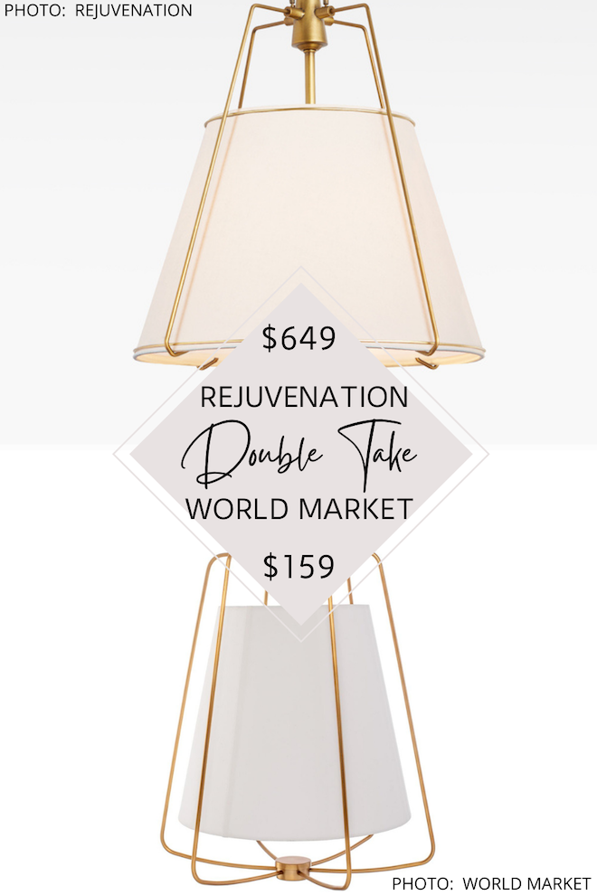 That Rejuvenation Conical Drum pendant dupe, tho! If you love decorating on a budget and look for less decor, you've got to see my Rejuvenation pendant lighting knockoff. The metal cage design and modern traditional style would look great over a kitchen island or even a dining table. #inspo #dupe #lighting