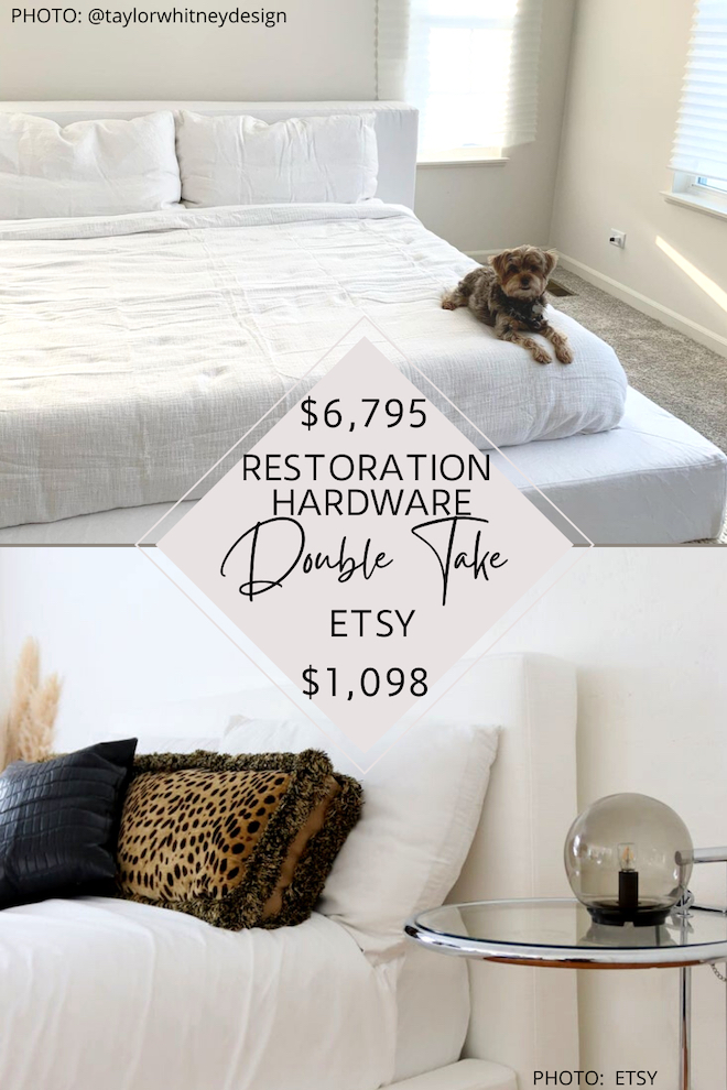 Looking for a Restoration Hardware Cloud bed dupe? I found one that will save you over $5,000! Yes, you can totally get the Restoration Hardware bedroom of your dreams AND on a budget. If you love Restoration Hardware style, check out my Restoration Hardware looks for less. #design #decor #copycat #knockoff