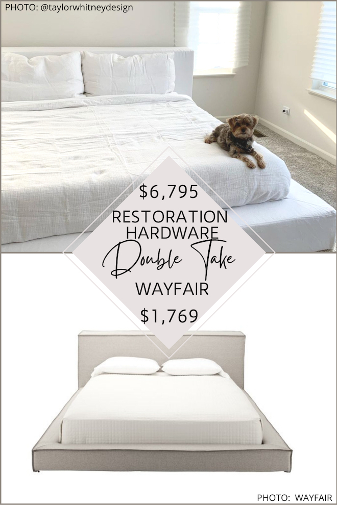 Finally! A Restoration Hardware Cloud Bed copycat! Love this modern, low profile floor bed (also known as a platform bed) looks just like the real thing but costs WAY less. Home decor dupes are a great way to save money. If you've always wanted a Restoration Hardware bedroom, this is how you do it on a budget. #bedroom #inspo #modern #house #lookalike #furniture