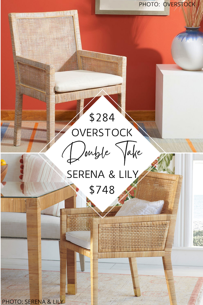 Looking for a Serena and Lily balboa armchair dupe? if you've always dreamed of having a serena and lily dining room, this is how you do it on the budget. get that coastal decor without the hefty price! These wicker dining chairs are serena & lily Balboa dupes and will help you decorate on a budget. #knockoff #decor #design #inspiration