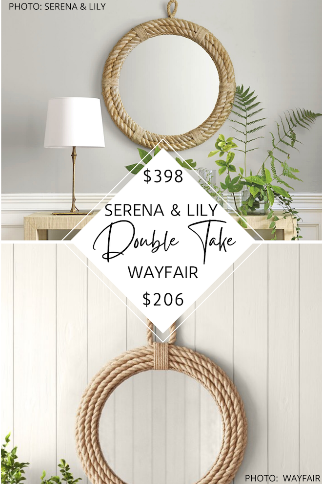 Looking for a Serena and Lily nautical rope mirror dupe? if you love Serena and Lily knockoffs and Serena and Lily looks for less, you've got to see this copycat. This round rope mirror will give you the coastal decor vibes and breezy California style that you love for $200 less. #inspo #design #decor #nautical #boho